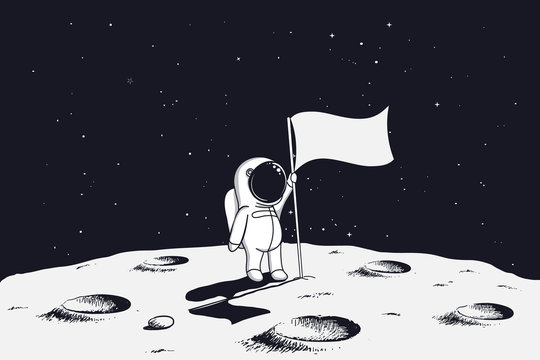 astronaut with flag stands on moon.Hand drawn vector illustration