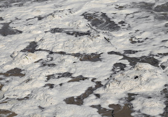 foam polluted in sea water due to the polluting materials in det