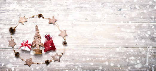 Merry Christmas and Happy New Year   -  Greeting card  -  Christmas Background  -  Natural decoration on rustic wood  -  Banner, Panorama