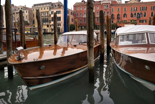 Speed boats dandling in Venice