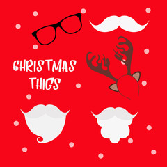 Christmas photo booth props set with Santa hat and beard, reindeer antlers, mustache and glasses. Party decoration. Christmas hats props.