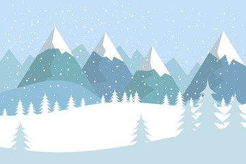 Flat vector landscape with silhouettes of trees, hills and mountains with falling snow.
