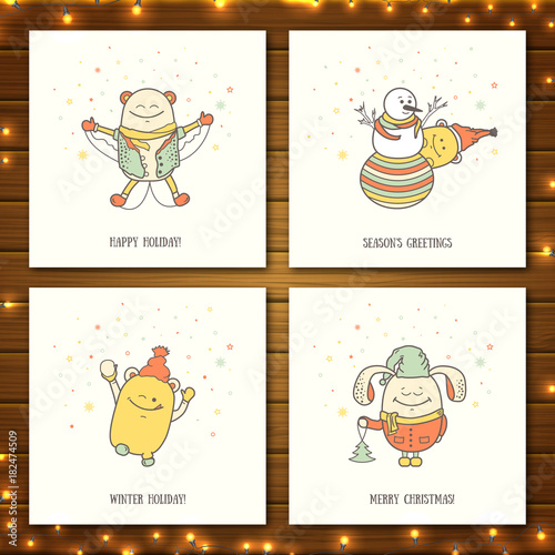 Set of Christmas greeting cards with funny characters. Collection of ...
