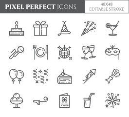 Birthday party theme pixel perfect thin line icons. Set of elements of cake, present, champagne, disco, firework and other entertainment related pictograms. Vector illustration. Editable stroke