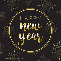 Black Gold Happy New Year Fireworks Vector Illustration 1