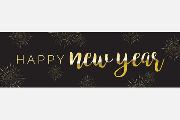 Happy New Year Fireworks Vector Wide Banner 1