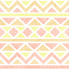 Seamless vintage pattern. Grunge texture. Cute print for textiles. White, pink and yellow colors. Ethnic and tribal motifs.