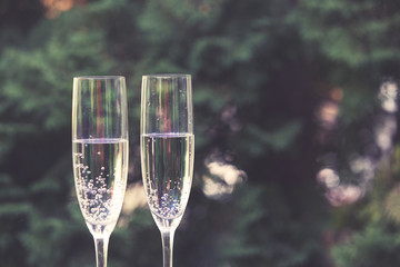 Vintage champagne glasses. New Year background