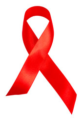 Red Ribbon - AIDS awareness symbol isolated on white background