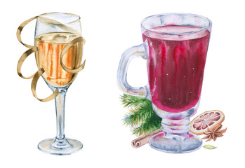 Mulled wine and champagne in glasses. Isolated on white background.