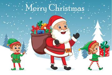 santa claus with christmas elves - Merry Christmas Elf