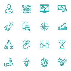 Set Of 16 Strategy Outline Icons Set.Collection Of Achievement, Development, Solution And Other Elements.