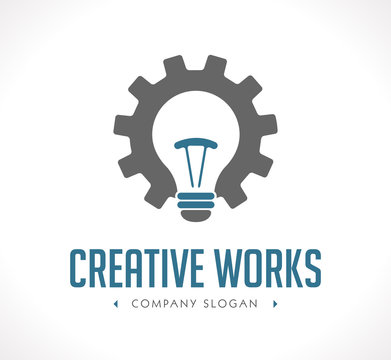 Power of creation logo - working gears and light bulb concept