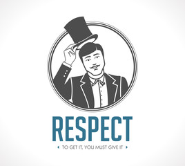 Respect logo - concept sign - man taking off his hat - icon