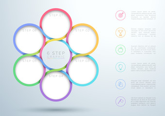 Infographic Colourful 6 Step Interweaving Circle Diagram