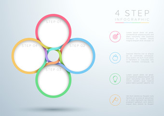 Infographic Colourful 4 Step Interweaving Circle Diagram