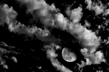 Nighttime Moon and Clouds