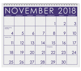 2018 Calendar: Month Of Thanksgiving With November
