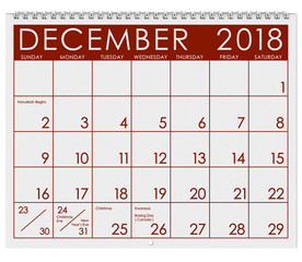 2018 Calendar: Month Of December With Christmas
