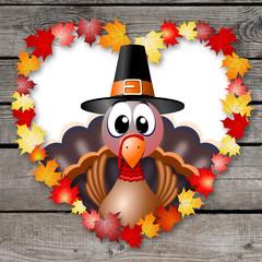 Thanksgiving turkey illustration - heart
