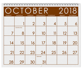 2018 Calendar: Month Of October With Halloween
