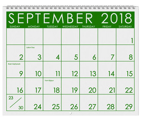 2018 Calendar: Month Of  September with Labor Day