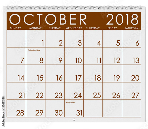 2018 calendar month of october with halloween