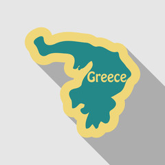 map of Greece in flat style with shadow