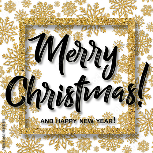 christmas frame with gold snowflakes and merry christmas and happy new year text border of