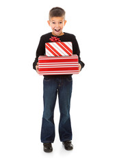 Christmas: Excited Young Boy Holds Stack Of Christmas Presents
