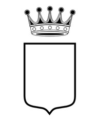 family shield template with crown, coat of arms, family crest isolated vector