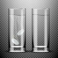 Glass with effervescent tablet in water with bubbles on transparent background