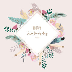 Valentine's dat collection for banners,Placards with leaf,flower and feather
