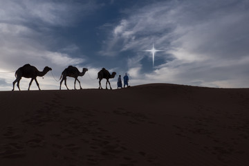 "Camels and riders in the desert at night. Digitally added ""Star of Bethlehem""."