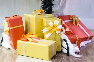 Collection of Colorful Gifts Boxes with Ribbon for Birthday Celebration, Christmas, Valentines, Party.