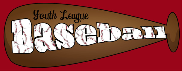 Youth league baseball text on a brown bat with red background.