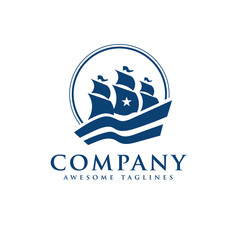 elegant Sailing boat logo vector, creative simple classic Sailing boat logo vector, seal adventure  logo vector