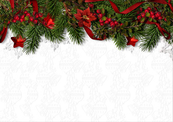Christmas background with border of holly, firtree and poinsettia