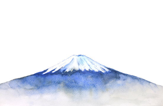 watercolor fuji mountain isolated on white background