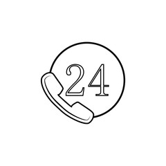 Phone 24 Hours Thin Line Icon