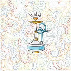 Hookah doodle illustration on patterned background