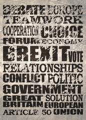 Grunge textured words cloud relative to politic situation between Great Britain and European Union. Brexit named politic process