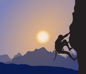 Explorer, Rock Climber, Mountaineering, Mountaintop, Sunset