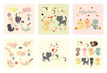 cute cat vector set