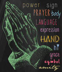 Hands illustrations. Signs hands. Folded in prayer.