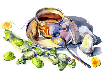 A mug of hot, tasty, fragrant, black, green tea with sweets. Still life with a plate, a cup and a spoon on the table. Green caramel. Watercolor. Illustration