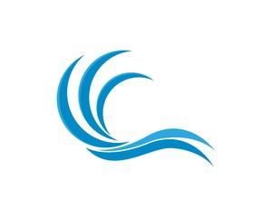 Nature wave logo design template