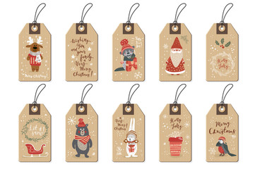 Christmas tags set, cartoon hand drawn style. Vector illustration.