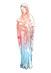 Saint Mary holding baby Jesus Christ, son of God in her hands. Christmas nativity scene for holiday. Color adult flesh tattoo concept. Vector.