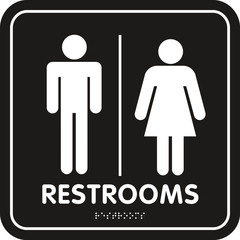Restroom Sign rounded corners braille